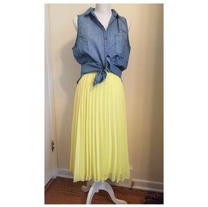 ASOS lemon chiffon yellow pleated midi skirt